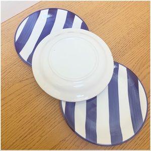 Vintage Dining - Striped Dessert Small Plates Blue White set of 3